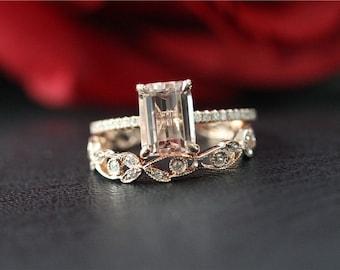 Unique Wedding Ring Set Solid 14K Rose Gold 6x8mm Emerald Cut Morganite Engagement Ring Stackable & Diamond Wedding Band/Morganite Ring Set