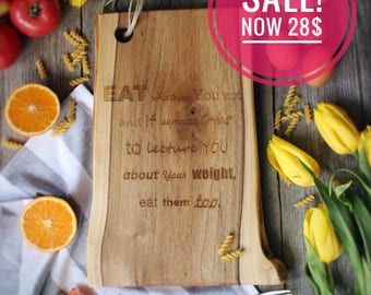 EAT WHATEVER you WANT, engraved serving board, walnut wood, natural- wooden board, chopping board, scandinavian design