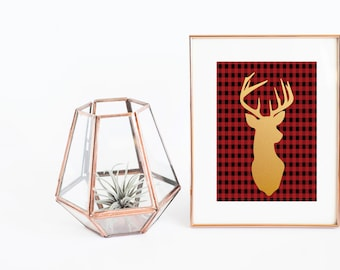 Christmas Printable | Plaid Print | Deer Print | Reindeer Print | Christmas Poster | Flannel Print | Gold Reindeer | Red Plaid Print |