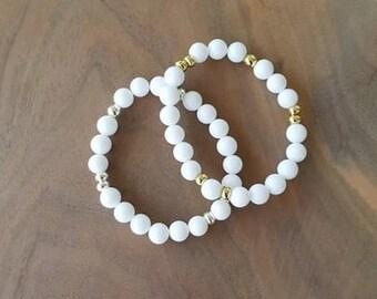White Jade Bracelet - White Jade - Stretch Bracelet - Beaded Bracelet