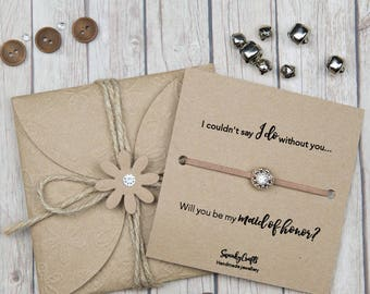 Maid of honor bracelets - will you be my maid of honor - maid of honor gifts - I couldnt say I do without you - coffee bracelets - nude look