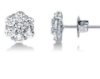Solid 14k White Gold 0.10 CTW Diamond Stud Earrings 7mm Small Flower Round