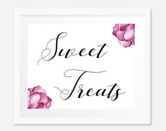 PRINTABLE wedding sign, Sweet treats sign, Dessert table sign, Bridal shower sign, Bachelorette party decorations