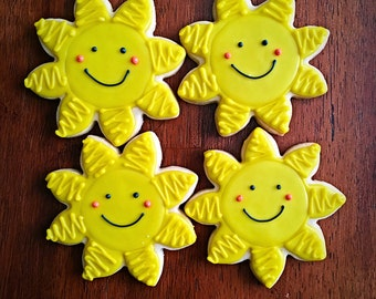 One Dozen - Sunshine Cookies - Sun Baby Shower Cookies - Summer Beach Party Favors - Sunny Decorated Cookies