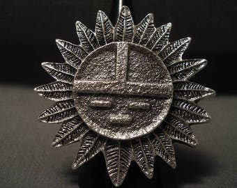 51 Gram Monster Navajo Tufa Cast Silver Sun Ring!!