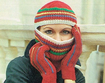 Vintage knitting pattern - Striped helmet with matching gloves - hat balaclava  - PDF knitting pattern - retro 70s 1970s