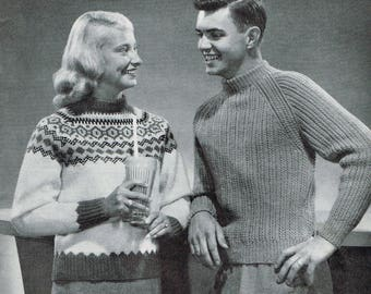 Vintage Knitting Pattern - 50s Pullovers for Adults and Teens - PDF Download - Retro 1950s sweaters