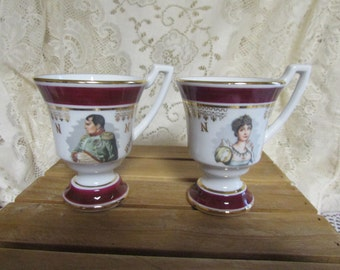 VTG Collection of Napoleon and Josephine VINTAGE set of 2 border gold Napoleon And Josephine VTG luxury porcelain cups