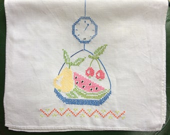 Embroidered Fruit Kitchen Towel