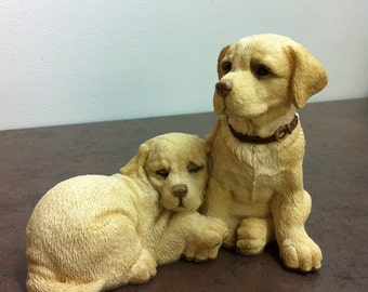 Vintage Dog Figurine - Stamped and Artist Signed - Labrador Retriever Pups - Dog Ornament - Golden Lab Pups - Memories of a Dear Friend