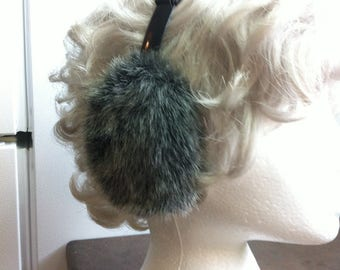 Vintage Earmuffs - Gray / Black Faux Fur - Ear Warmers - Adjustable Plastic Headband