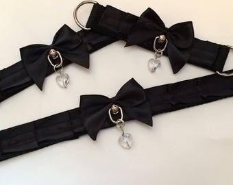 Black on black petplay kittenplay full collar cuffs set