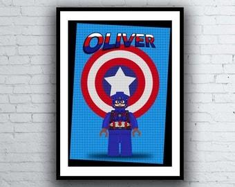 "Captain America Lego ""Personalised"" A4 Minifigure Kids Nursery Room Wall Art Poster Print"