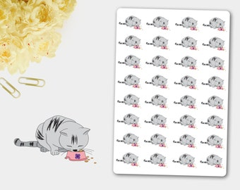 Feed  the Cat Bushy Stickers, Cat Planner Stickers, Pet Lover, Cat Food Stickers