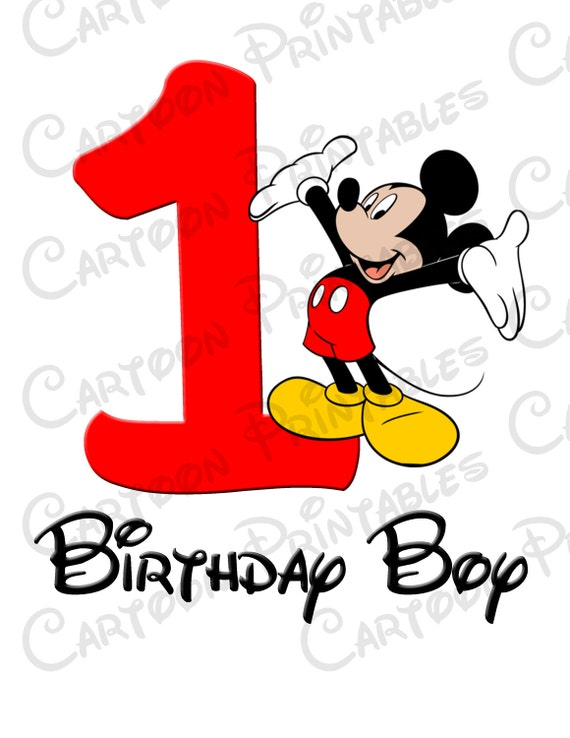 Mickey Mouse First Birthday Boy Image Printable Clip Art