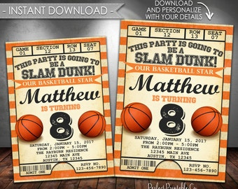 Basketball Invitation, Basketball Birthday Party Invitation, Vintage Basketball Invite, Black and Orange, Instant Download, Editable #558