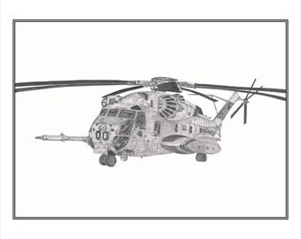 CH-53E Supper Stallion Print, Aviation Art Print, CH-53E, Marine Heavy Helicopter Squadron 463 Pegasus