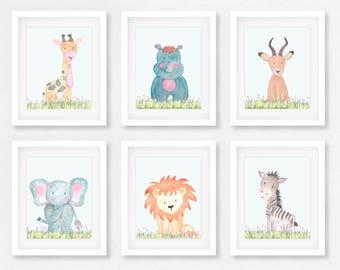 Safari Wall Art, Set of 6 Safari animals, Baby animals, Safari nursery, SSFIVE, Zoo animals, Safari Theme, Elephant, Zebra, Lion, Giraffe,