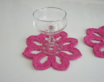 2 coaster - doily - hand crocheted Doilies -