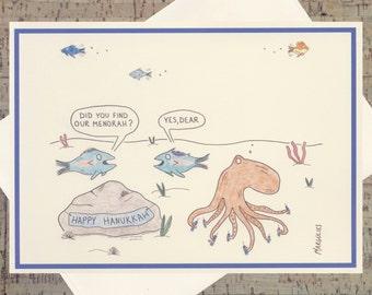 Hanukkah Card, Menorah Card, Funny Hanukkah Card, Fish Card, Funny Fish, Jewish Card, Quirky Holiday Card, Seasonal Card