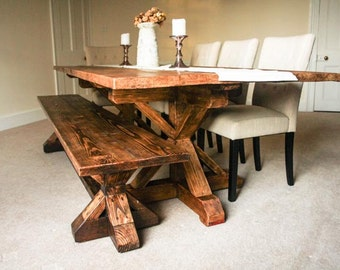 Farmhouse Dining Table and Bench - Reclaimed Wood Dining Table and Bench - Rustic Dining Table and Bench
