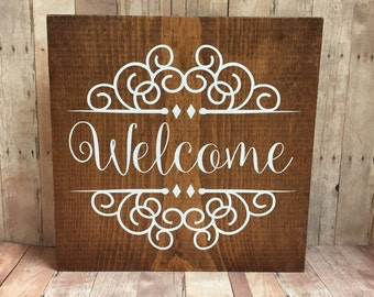Welcome Sign on Stained Wood  with White Lettering - Shelf Sitter or Sign - Home Decor