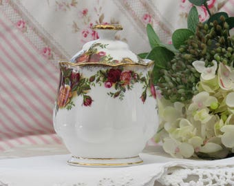 Royal Albert, Old Country Roses, Lidded Preserve Jar, Bone China Jam Pot, Vintage Preserve Jar,
