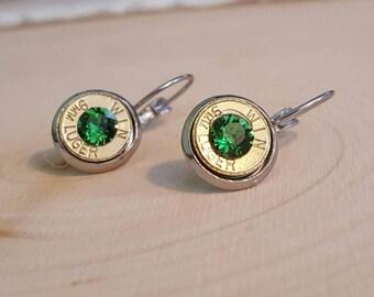9mm light green bullet dangle earrings