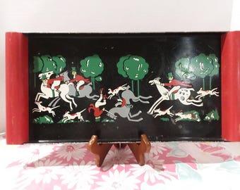 Vintage Social Supper Tray - Fox Hunt