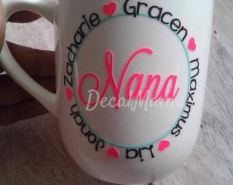 Nana Mug- Coffee Mug- Grandkid's names- Grandma-