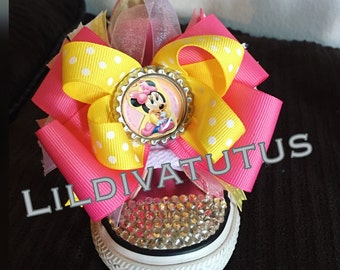 Pink Minnie Mouse Blinged Converse  shoes to match your baby's tutu set