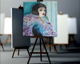 3D portrait, 60 x 60cm & stretcher, woman, original, unique!