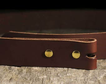 Leather Belt Strap & Chicago Screws - Hole Punched for Belt Buckle and Chicago Screws - All Widths Available - TheCopperBuckle
