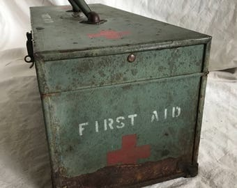 Vintage Metal First Aid Tool Box Storage