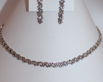 Dainty Necklace and Earring Set- Silver, Rose Gold, Gold, Bridal, Special Occasion