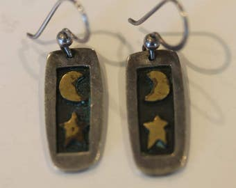 Signed Far Fetched dangle brass moon and star earrings hooks