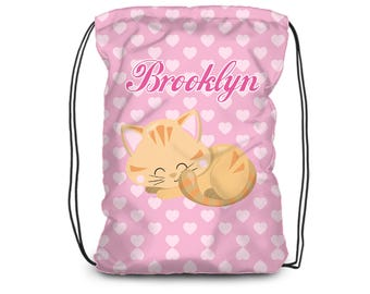Kids Cat Drawstring Backpack - Kitten Bag, Pink Hearts Cat Sack Bag, Kitty Cat Personalized Backpack, You Pick Cat - Kids Personalized Gift