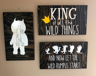 Where The Wild Things Are | Wild Rumpus Start | King Of All Wild Things | Ill Eat You Up I Love You So | Rustic Nursery Decor