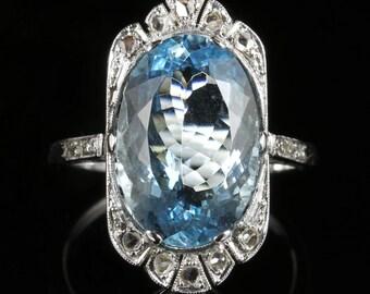 Antique Edwardian Aquamarine Rose Cut Diamond Ring 7.80ct Aquamarine 18ct White Gold