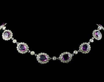 Amethyst Paste Edwardian Collar Necklace Silver Perfect for a Wedding 1915