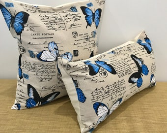 """French Linen Blue Butterflies and Script on Taupe Text Fabric Cushion Cover Throw Pillow. 18""""/20"""". Made Australia."""