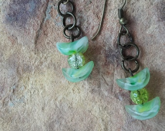 Beaded handmade small earrings  everyday earrings simple earrings light earrings green earrings delicate earrings dangle drop earrings prom