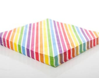 Napkins | Rainbow Striped Paper Napkins | Rainbow Napkins | Rainbow Party | Art | Quality Paper Napkins | Party Supplies The Party Darling