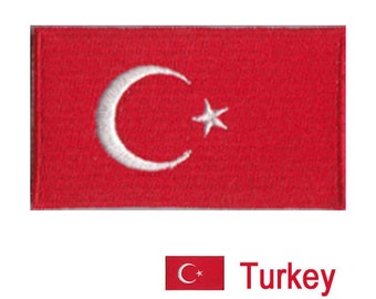 Small Turkey Flag Iron On Patch 2.5 x 1.5 inch Free Shipping