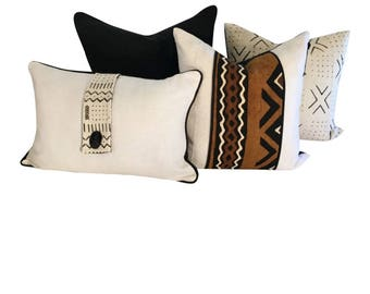 White Linen Pillow, White and Black Lumbar Pillow, African Fabric Pillow, 20x14 Pillow for Couch or Chair