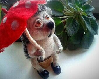 Felt toy hedgehog- Soft sculpture- Figurine-Needle felted animals-Needle felting- Handmade toy- Birthday gift-Gifts for her- Wool hedgehog