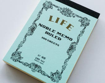 Mini B7 Refill LIFE Japan Noble Series Lined Memo Notebook Journal Archival Quality Paper Acid Free Handmade - Blue Book