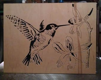 Hummingbird & Lillies