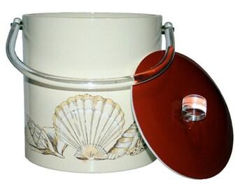 Vintage, Seashell Ice Bucket w/ Lucite Handles