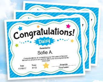 Girl Scouts Daisy Congratulations Certificate, instant download, customizable PDF for Girl Scout troop leader
